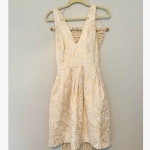 "Anthropologie ""Hutch"" Gold Metallic Jacquard Dress"
